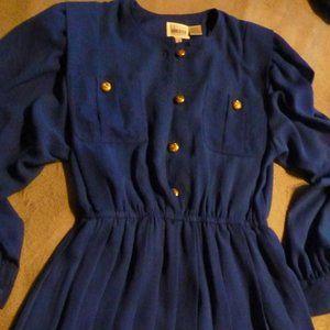 Vintage 80s Leslie Fay Blue Midi Dress